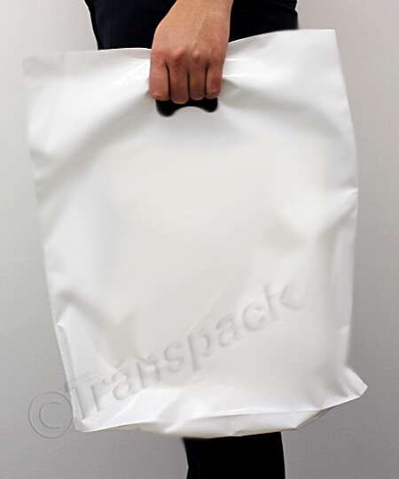 Plain Carrier Bags - Glossy White or Clear