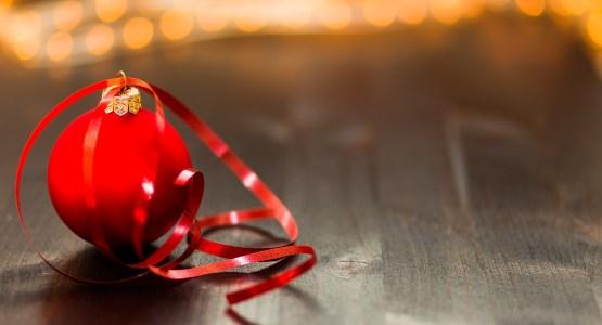 Festive ribbon on bauble