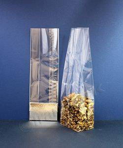 Cello Bags with Side Gussets and Silver Card Base 85+55 x 270mm