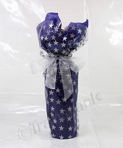Cellophane Wrap Silver Star Design 800mm x 100metres