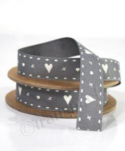 Grey Hearts and Kisses Ribbon