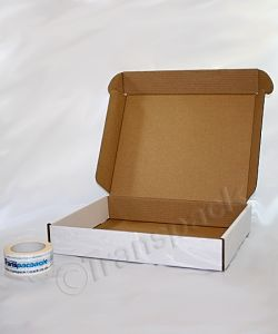 PIP BOXES Small white PARCEL BOX NEW 419 x 338 x 72mm